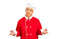 Sad chef woman questioning isolated on white background Stock Images