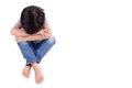 Sad child alone isolated on white Stock Photos