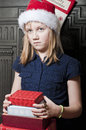 Sad child at christmas looking young girl time Royalty Free Stock Photo