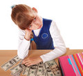 Sad child with money dollar. Royalty Free Stock Photography
