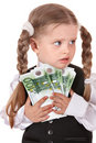 Sad child with money euro. Royalty Free Stock Images