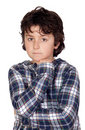 Sad child with plaid t-shirt Stock Photography