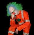Sad Clown on Black Background Royalty Free Stock Photo