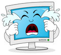 Sad crying computer monitor character a cartoon isolated on white background eps file available Royalty Free Stock Photography