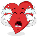 Sad crying red heart cartoon character a isolated on white background eps file available Stock Photos