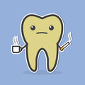 Sad dark tooth with coffee and cigarette.
