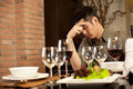 Sad Dinner Date Royalty Free Stock Photography