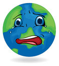 A sad earth illustration of on white background Royalty Free Stock Photos