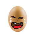 Sad eggs brown egg with face on white background Royalty Free Stock Images