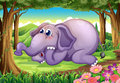 A sad elephant at the forest illustration of Royalty Free Stock Photos