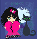 Sad emo girl and her cat illustration Stock Photography