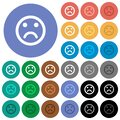 Sad emoticon round flat multi colored icons Royalty Free Stock Photo