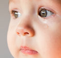Sad face baby. A tear on the face Royalty Free Stock Photo