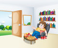 A sad fat boy sitting in the sofa in front of the bookshelves illustration Stock Photos