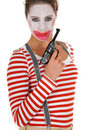 Sad female clown suspenders Royalty Free Stock Photography