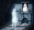 Sad ghost looking on portrait white transparent woman her a wall in old castle Stock Images