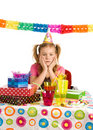 Sad girl on birthday party Stock Photo