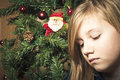 Sad girl at christmas small lonely looking time Royalty Free Stock Photos