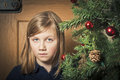 Sad girl at christmas time little looking and alone Stock Photo