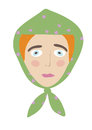 Sad girl face with green shawl on the head Royalty Free Stock Image