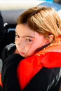 Sad Girl In A Life Jacket Royalty Free Stock Photo