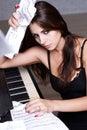 Sad girl near piano Royalty Free Stock Photography