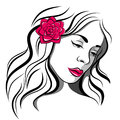 Sad girl with rose black and white red in hairs Royalty Free Stock Photos