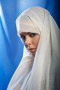 Sad girl in white hijab Royalty Free Stock Photo