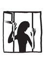 Sad girl at the window black on white icon Royalty Free Stock Photography