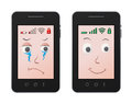 Sad and happy mobile illustrations of two phones one one Royalty Free Stock Photo