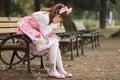 Sad japanese girl Royalty Free Stock Photo