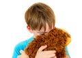 Sad Kid with Plush Toy Royalty Free Stock Photo