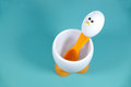 Sad looking spoon and egg cup  Royalty Free Stock Photo