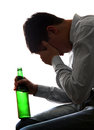 Sad man in alcohol addiction silhouette of depressed on the white background Royalty Free Stock Photos
