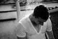 Sad man showering Royalty Free Stock Photo
