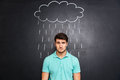 Sad man standing under the rain drawn on blackboard background Royalty Free Stock Photo