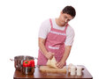 Sad man try to cooking isolated Royalty Free Stock Photo