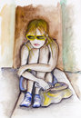 Sad maria teenager girl a in yellow glasses so about your friends handmade watercolor painting illustration on a white paper art Royalty Free Stock Images