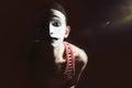 Sad mime on black Royalty Free Stock Photo