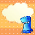 A sad monster with an empty cloud template illustration of Stock Image
