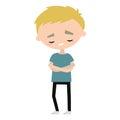 Sad offended blond boy cartoon illustration