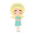 Sad offended blonde girl cartoon illustration