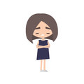 Sad offended girl cartoon illustration