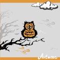 Sad owl autumn, vector illustration
