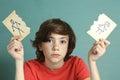 Sad preteen boy unhappy about parents divorce Royalty Free Stock Photo