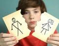 Sad preteen boy unhappy about parents divorce