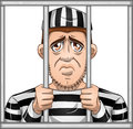 Sad prisoner behind bars a vector illustration of a locked in jail Stock Photography
