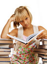 Sad School girl with Books Royalty Free Stock Photo