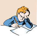 Sad schoolboy doing homework vector illustration Stock Photos