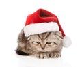 Sad scottish kitten with red santa hat.  on white Royalty Free Stock Photo